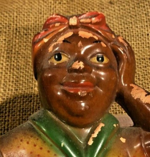 Vintage 1954 Miller Studio Chalkware African American Lady Notepad Wall Plaque