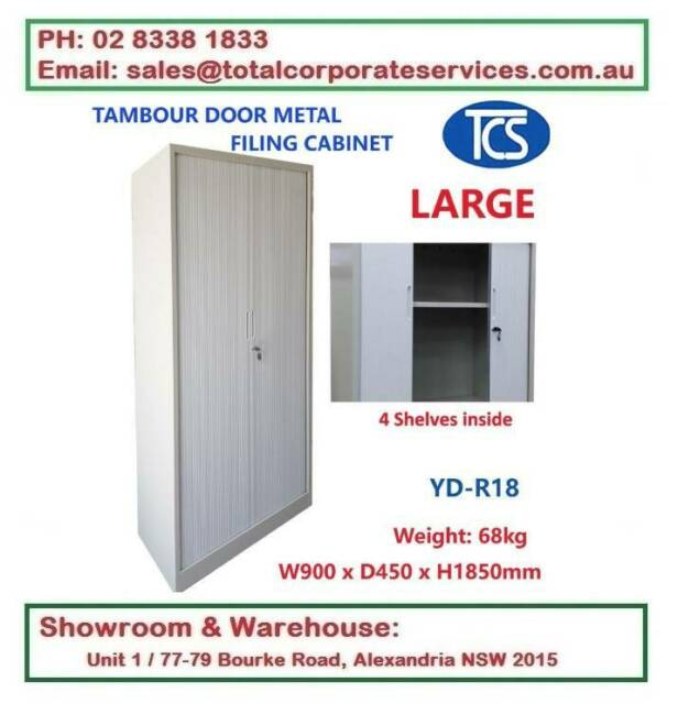TAMBOUR DOOR CABINET METAL FILING CABINET HOME & OFFICE
