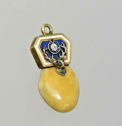 Genuine Elk Ivory Tooth 14k Gold  charm  pendant  Elks , Moose  Lodge  Vintage