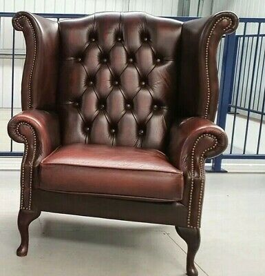Chesterfield Leather Wing Backed Armchair Chair Brown