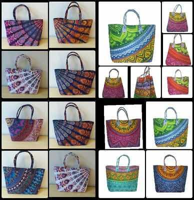 100PC Wholesale Lot Mandala Indian Women's Fashion Large Bag Purse Hobo Tote Bag