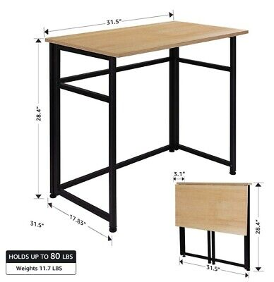 Folding Table Fold-in-Half Computer Desk, Rectangle Laptop Table for small room.