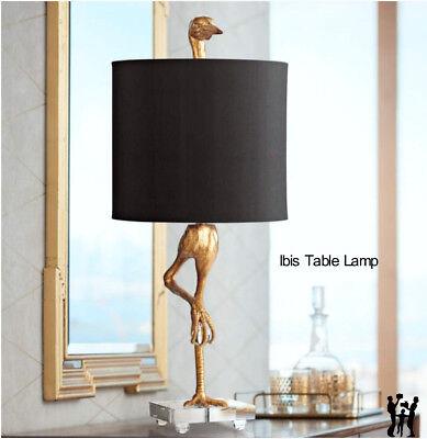 "Ibis Table Lamp Black & Gold 05206 Horchow Heron Crane Bird 35""H by Cyan Design"