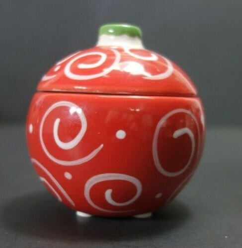 Yankee Candle Christmas Ornament Tea Light Holder Red With White Swirls