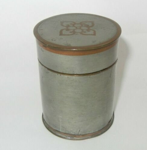 Rare Antique Chinese Pewter and Ceramic Jar Signed Calligraphy Four Leaf Clover