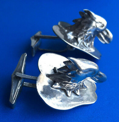 - VINTAGE MODERNIST STERLING SILVER ROPLES EAGLE HEAD CUFFLINKS  14.0g