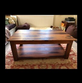 Walnut Solid Wood Coffee Table with shelf