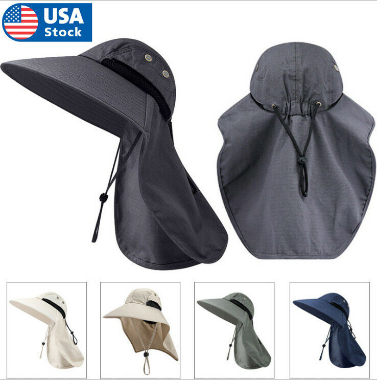 USA Mens Hat Brim Neck Cover Sun Flap Cap Summer Fishing Garden Outdoor Clothing, Shoes & Accessories