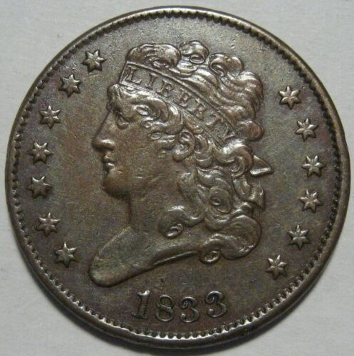 = 1833 XF+ Half Cent, Nice Details, FREE Shipping