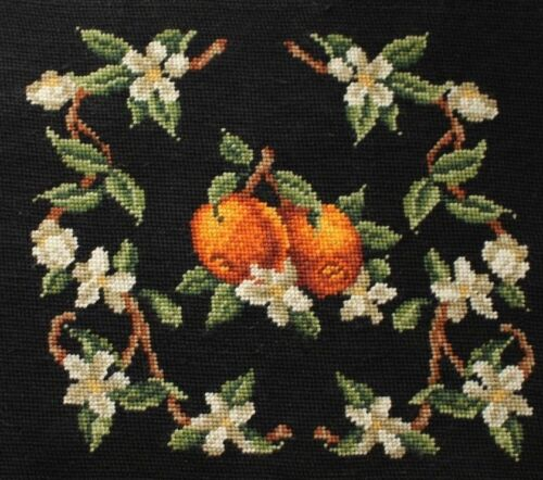 Oranges and Blossoms Needlepoint Completed Finished Black Background Seat