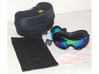 HB BLACK SKI SNOW BOARD GOGGLES DOUBLE LENS ANTI FOG MIST UV400,CASE,BAG,& CLOTH