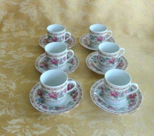 6 Sets Vintage Jingdezhen China Demitasse Cups & Saucers Floral W/ Gold Trim