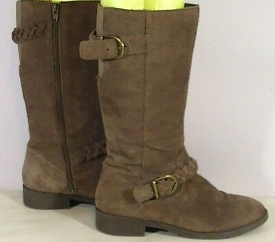 Lands' End Girls Brown Suede Boots with Brass Buckles & Baided Suede Trim Size 4 - Girls Brown Suede Boots