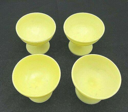 4 Champagne/Tall Sherbet Cups Modertone Platonite Pastel Yellow by Hazel-Atlas