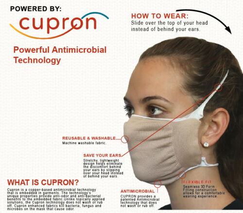 Face Nose Mask Unisex Antimicrobial CUPRON Washable Reusable Face Mask