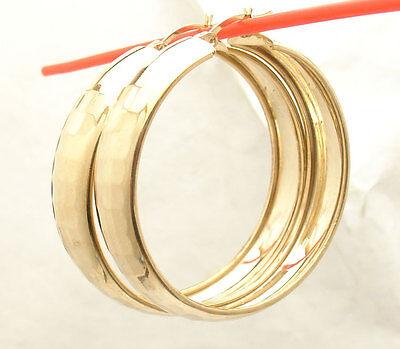 "1 3/4"" Technibond Diamond Cut Round Hoop Earrings 14K Yellow Gold Clad Silver"