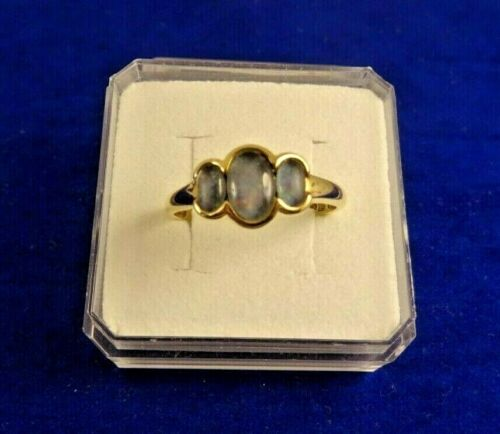 Vintage Style Ladies 9ct Gold OPAL 3 STONE TRILOGY RING Sz Q OCTOBER Gift 61ff