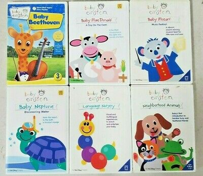 Lot Of 6 Baby Einstein DVDs - Beethoven/Animals/MacDonald/Mozart/Neptune/Nursery