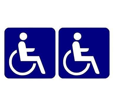 2 Rollstuhlfahrer - Behindert - Aufkleber Behindertenaufkleber 10x10cm B109