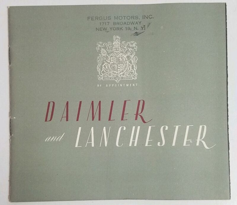 1949 DAIMLER & LANCHESTER Original Automotive Sales Brochure Fergus Motors NY