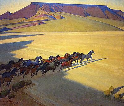 Wild Horses of Nevada   by Maynard Dixon   Giclee Canvas Print Repro