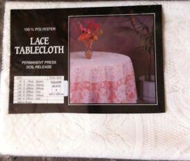 CREAM LACE TABLECLOTH 135 x 135cm square (Brand New)