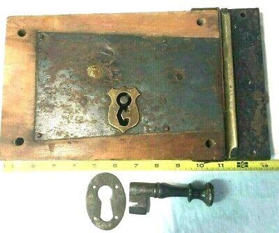 Antique Large Door Lock with > Key, Keeper, Brass Keyhole  > Wood, Metal Brass