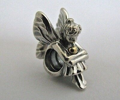 #33 Authentic Pandora Pixie Fairy Charm 14K W/ Pouch & Polishing Cloth #791206! (Fairy Cloths)
