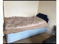 Single divan bed with headboard and 2 drawers and mattress