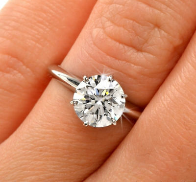 1.5CT ROUND CUT DIAMOND SOLITAIRE ENGAGEMENT RING 14K WHITE GOLD ENHANCED 8.5