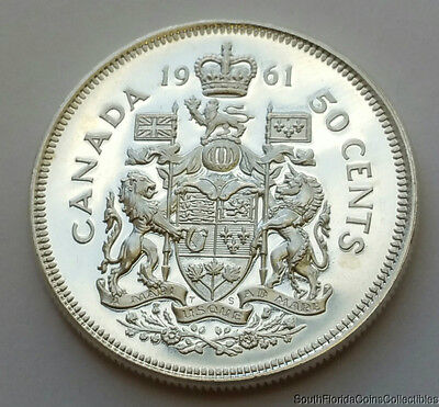 1961 Canada 50 Fifty Cents .800 Silver Proof Like Brilliant Uncirculated Coin