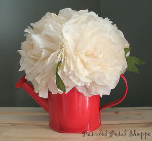 Cream Coffee Filter Peony in Red Watering Can/Spring Arrangement