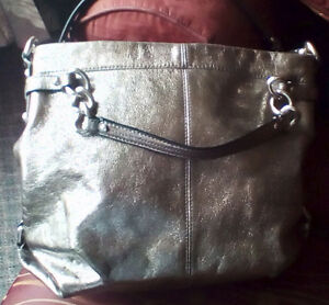 COACH: Brooke Leather Convertible. Metallic Pewter.