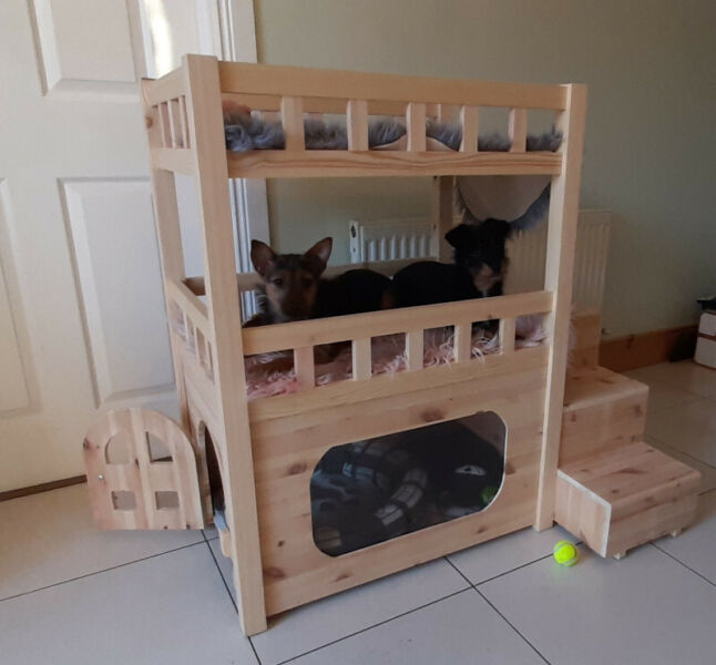 Dog or Cat Double Bunk Bed with built in kennel and steps