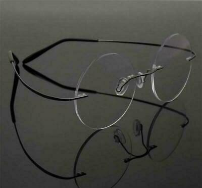 Herren Vintage randlose Steve Jobs Runde Titan Brillen Frames Rx-fähig EFA302 ()