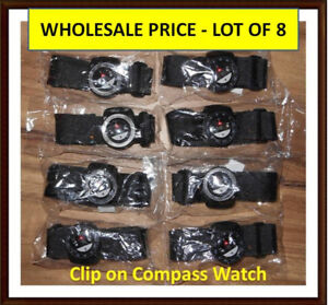 Outdoor Hiking Clip on Compass Watch - Lot of 8