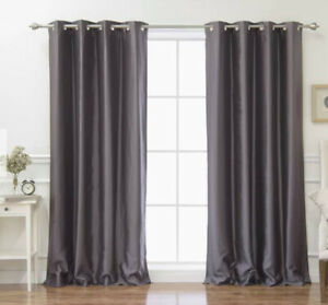 Luxury Faux Silk Charcoal Grey Curtains with Pewter Grommets