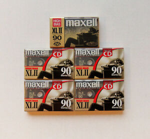 5 (New) Maxell XLII 90 High Bias Audio Cassette Tapes