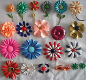 Vintage Retro Enamel Flower Brooches and Earrings Collection