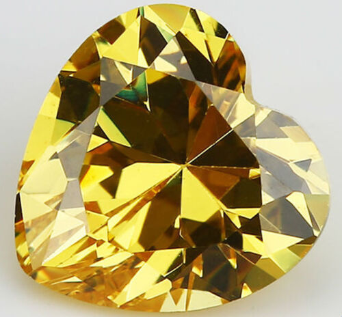 8X8mm AAAAA Yellow Sapphire Gems 3.02ct Heart Faceted Cut VVS Loose Gemstone