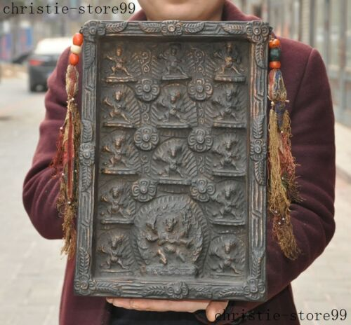 "14""Tibet Buddhism old Bodhi wood Carved Mahakala Wrathful Buddha Shrines Statue"