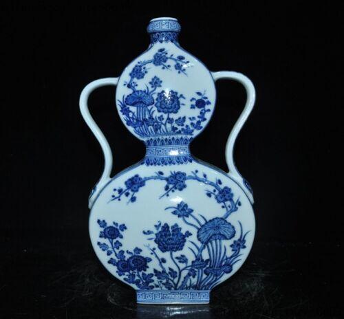 """13""""China Blue white porcelain lotus Lotus leaf flower statue Bottle Pot Vase Jar"""