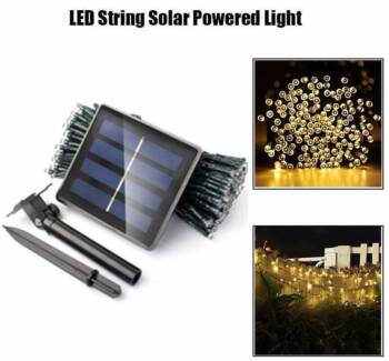 100 LED Outdoor Warm White Solar Powered String Fairy Lights