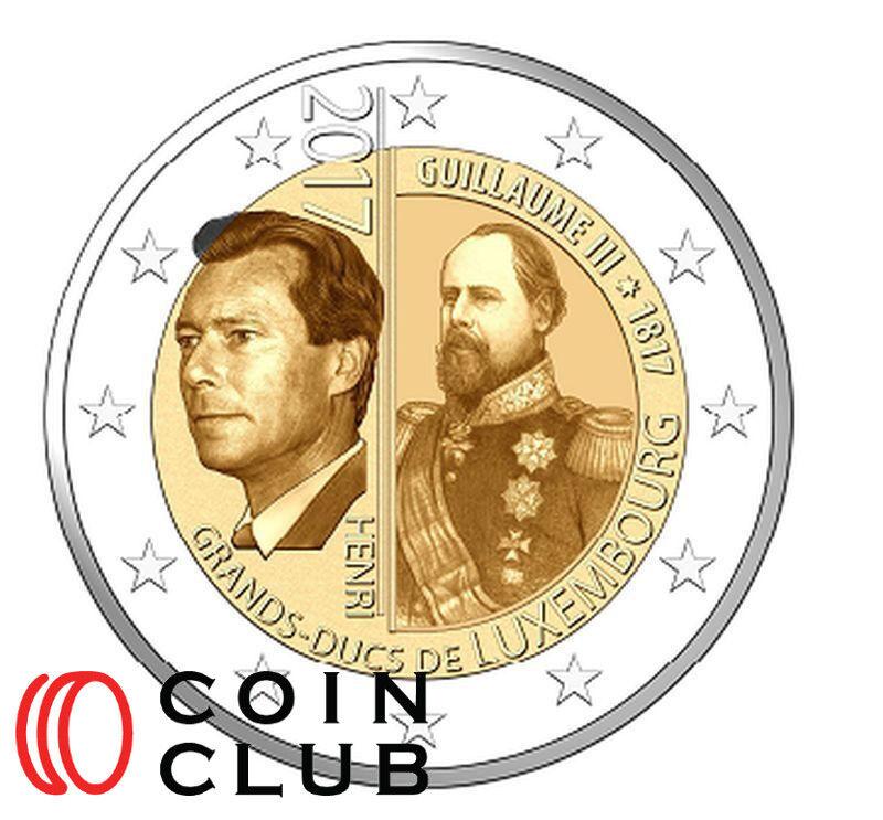 2 EURO Luxemburg 2017 -- 200. Geburtstag GH Wilhelm III.-  UNC.
