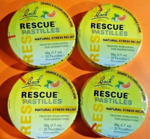 Lot of 4  Bach RESCUE Orange & Elderflower  PASTILLES Stress Relief  4 pack
