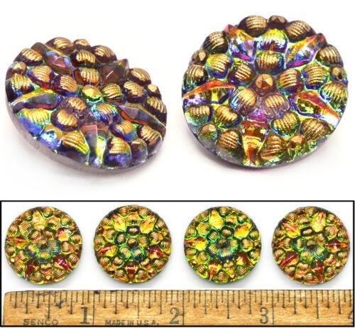 22mm Vintage Czech RAINBOW Fire AB STAR FLOWER Mosaic GOLD 3D Glass Buttons 4pc