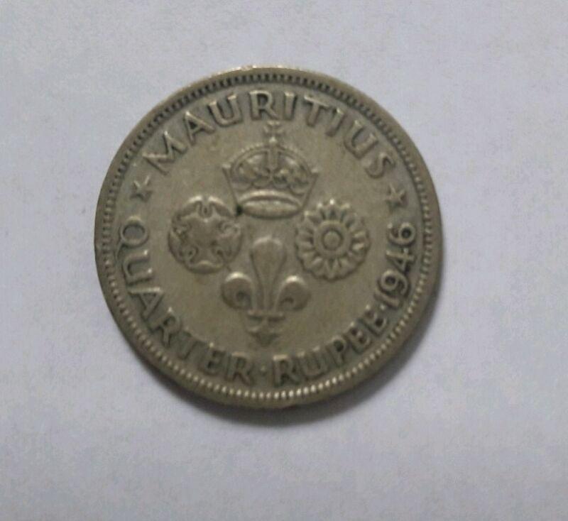 MAURITIUS QUARTER RUPEE 1946 RARE HTF