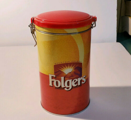 FOLGERS Coffee Tin Canister Container w/Snap-on  Lid
