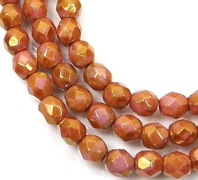 50 Firepolish Czech Glass Faceted Round Beads Luster Opaque Rose/Gold Topaz 4mm