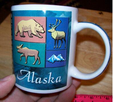 Alaska ceramic Coffee Mug, Denali National Park, colorful Wildlife & park map ()